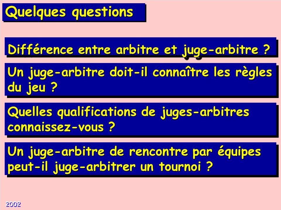 Quelques questions Différence entre arbitre et juge-arbitre