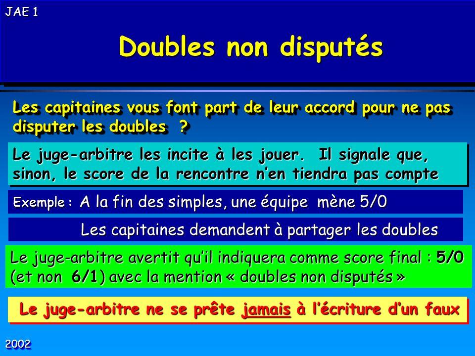Doubles non disputés JAE 1. Les capitaines vous font part de leur accord pour ne pas disputer les doubles