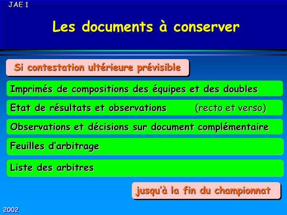 Les documents à conserver