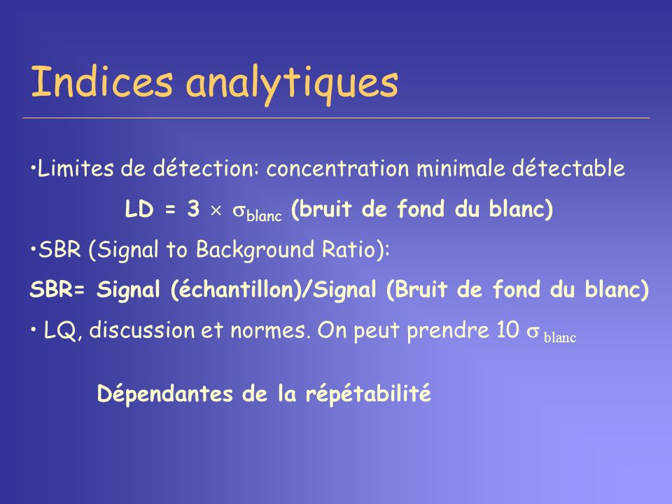 Indices analytiques Limites de détection: concentration minimale détectable. LD = 3  blanc (bruit de fond du blanc)