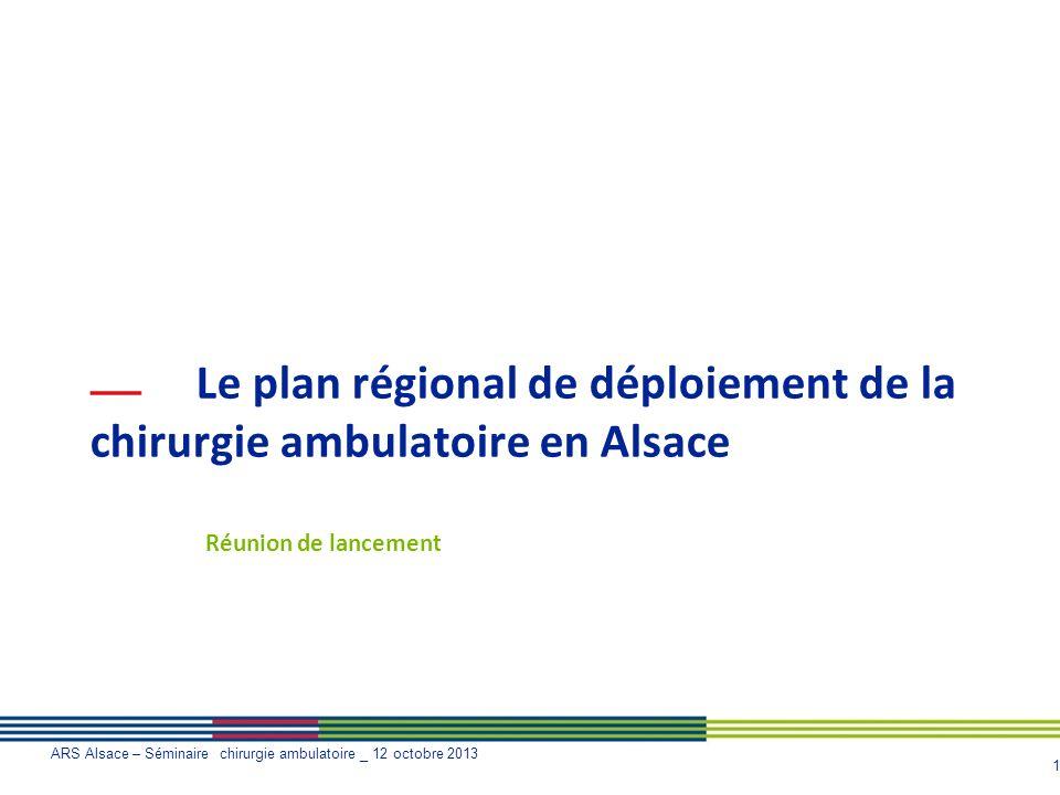 Le plan régional de déploiement de la chirurgie ambulatoire en Alsace