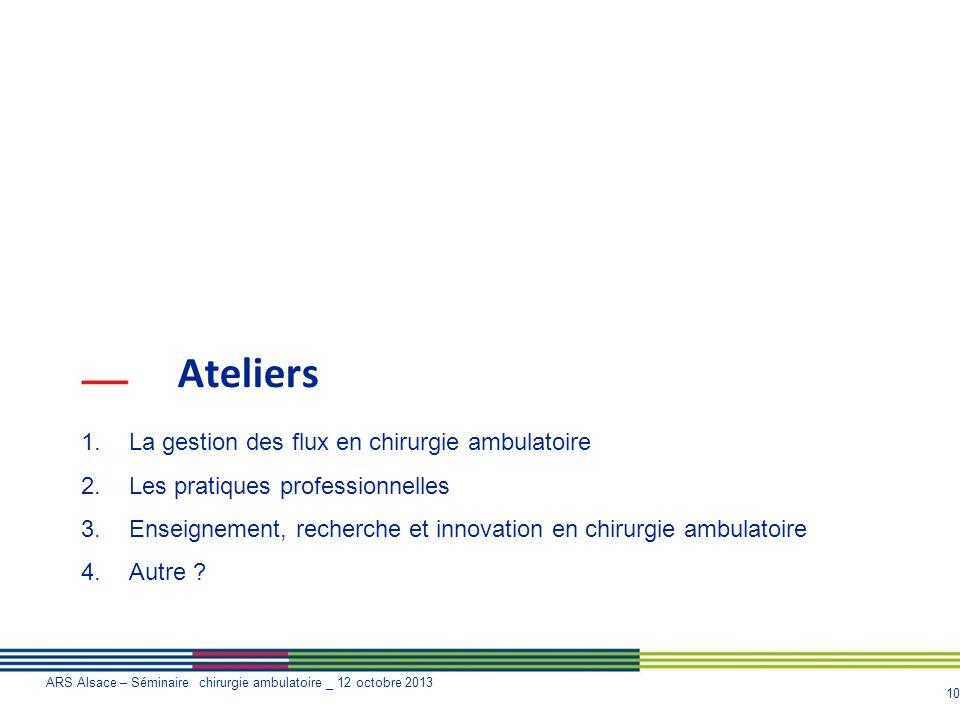 Ateliers La gestion des flux en chirurgie ambulatoire