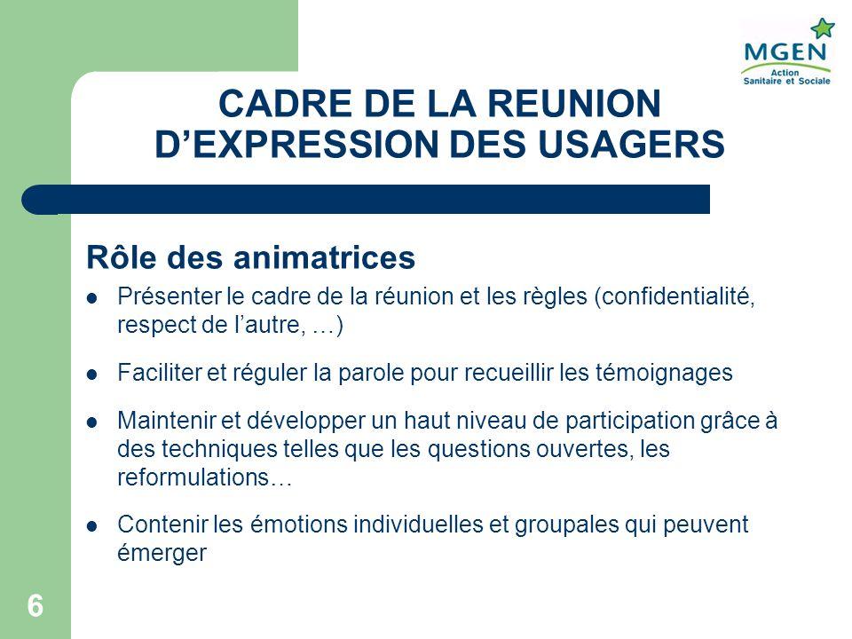CADRE DE LA REUNION D'EXPRESSION DES USAGERS