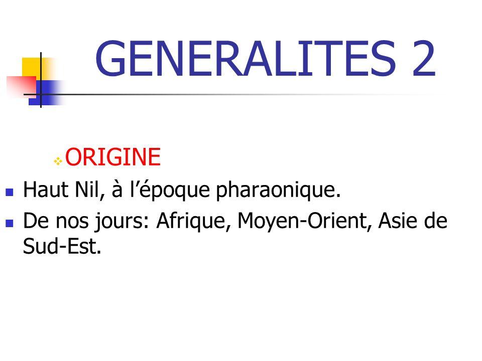 GENERALITES 2 ORIGINE Haut Nil, à l'époque pharaonique.