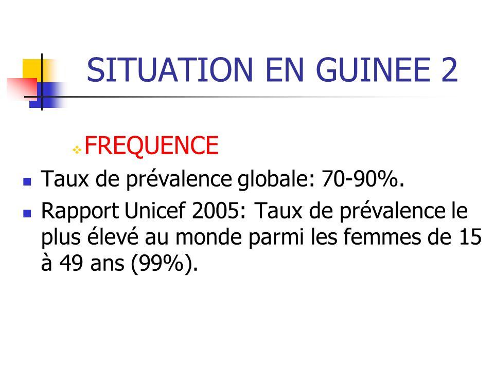 SITUATION EN GUINEE 2 FREQUENCE Taux de prévalence globale: 70-90%.