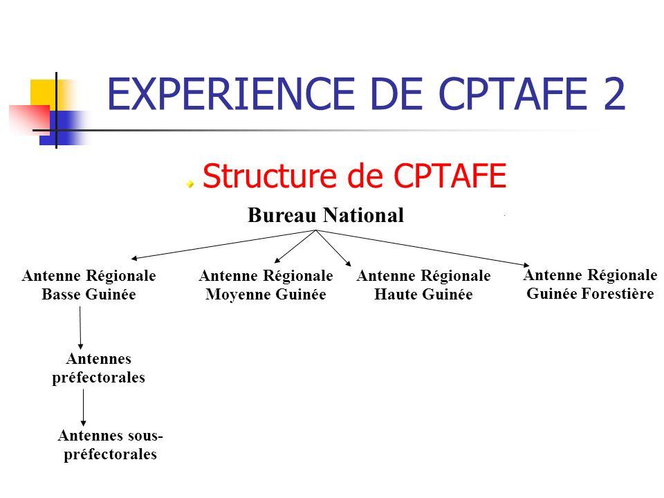 EXPERIENCE DE CPTAFE 2 Structure de CPTAFE Bureau National