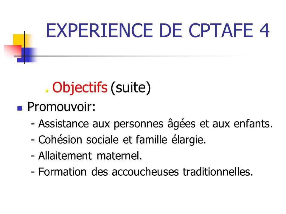 EXPERIENCE DE CPTAFE 4 Objectifs (suite) Promouvoir: