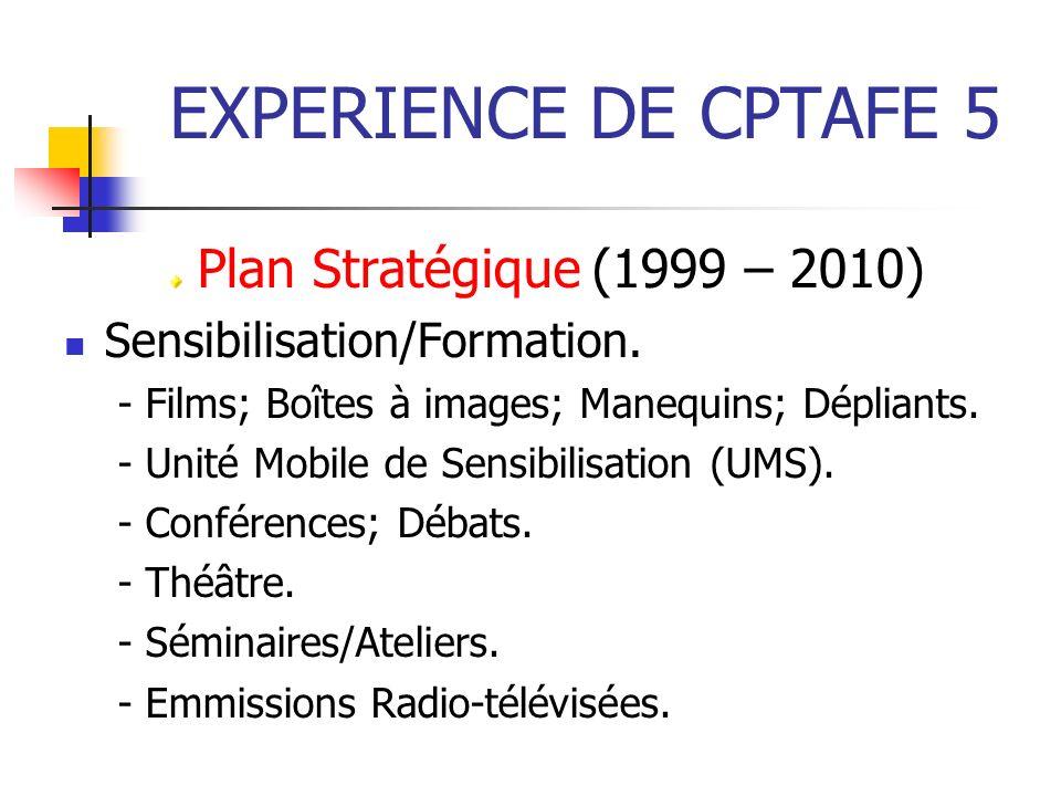 EXPERIENCE DE CPTAFE 5 Plan Stratégique (1999 – 2010)