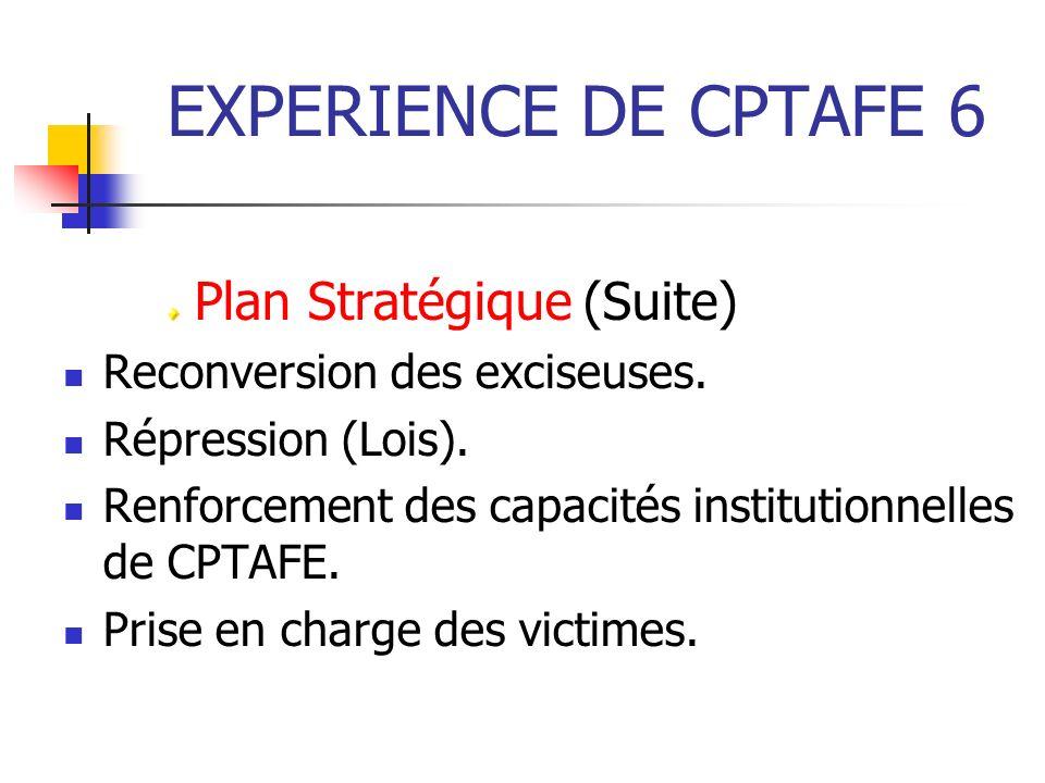 EXPERIENCE DE CPTAFE 6 Plan Stratégique (Suite)