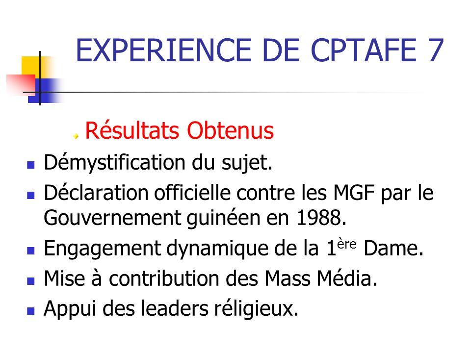 EXPERIENCE DE CPTAFE 7 Résultats Obtenus Démystification du sujet.