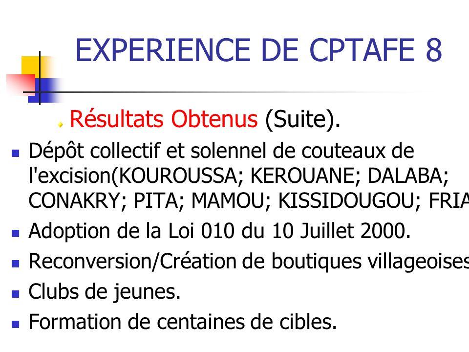 EXPERIENCE DE CPTAFE 8 Résultats Obtenus (Suite).