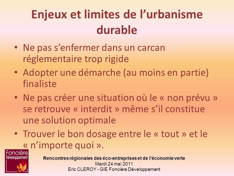 Enjeux et limites de l'urbanisme durable