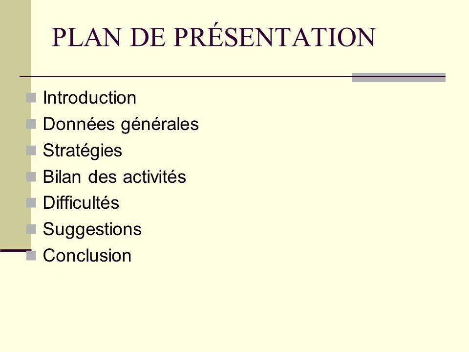 PLAN DE PRÉSENTATION Introduction Données générales Stratégies