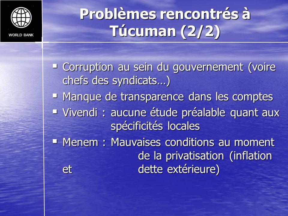 Problèmes rencontrés à Túcuman (2/2)