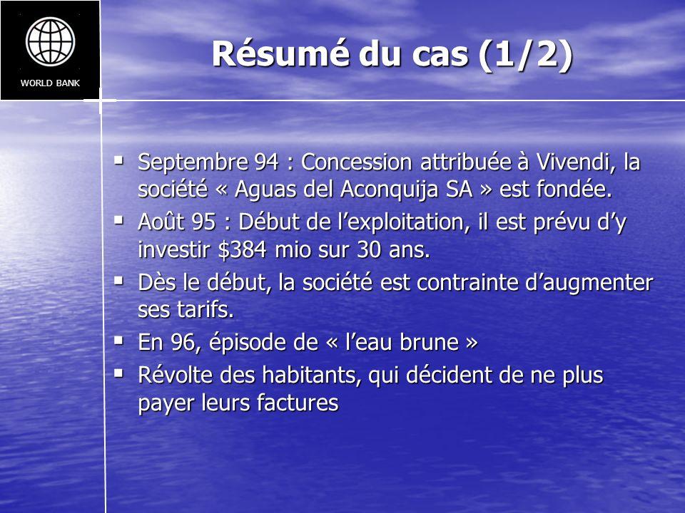WORLD BANK Résumé du cas (1/2) Septembre 94 : Concession attribuée à Vivendi, la société « Aguas del Aconquija SA » est fondée.
