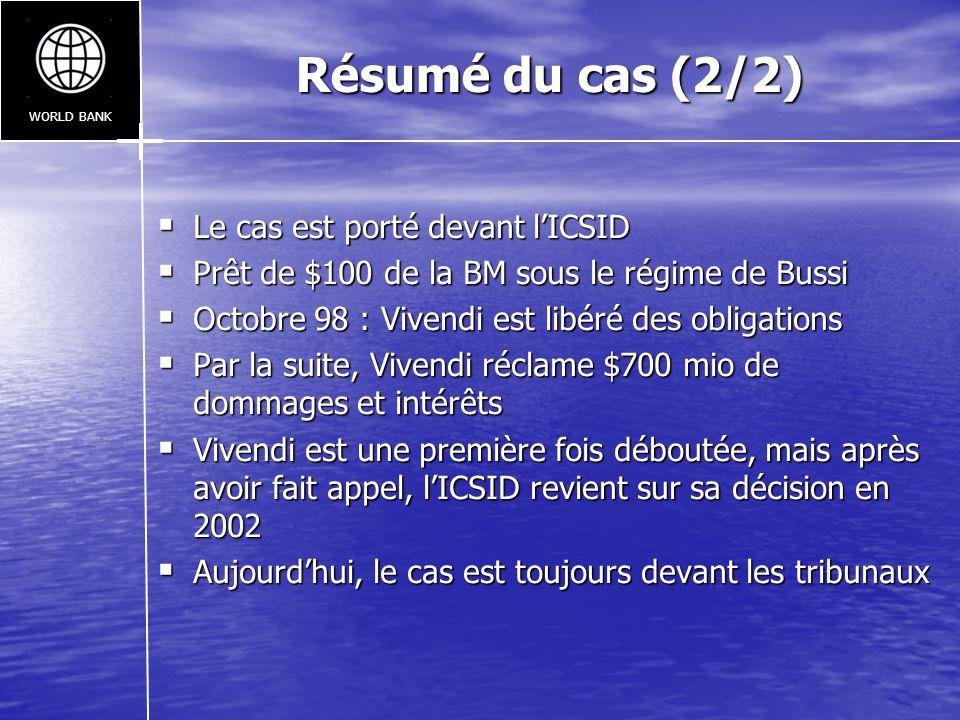 Résumé du cas (2/2) Le cas est porté devant l'ICSID
