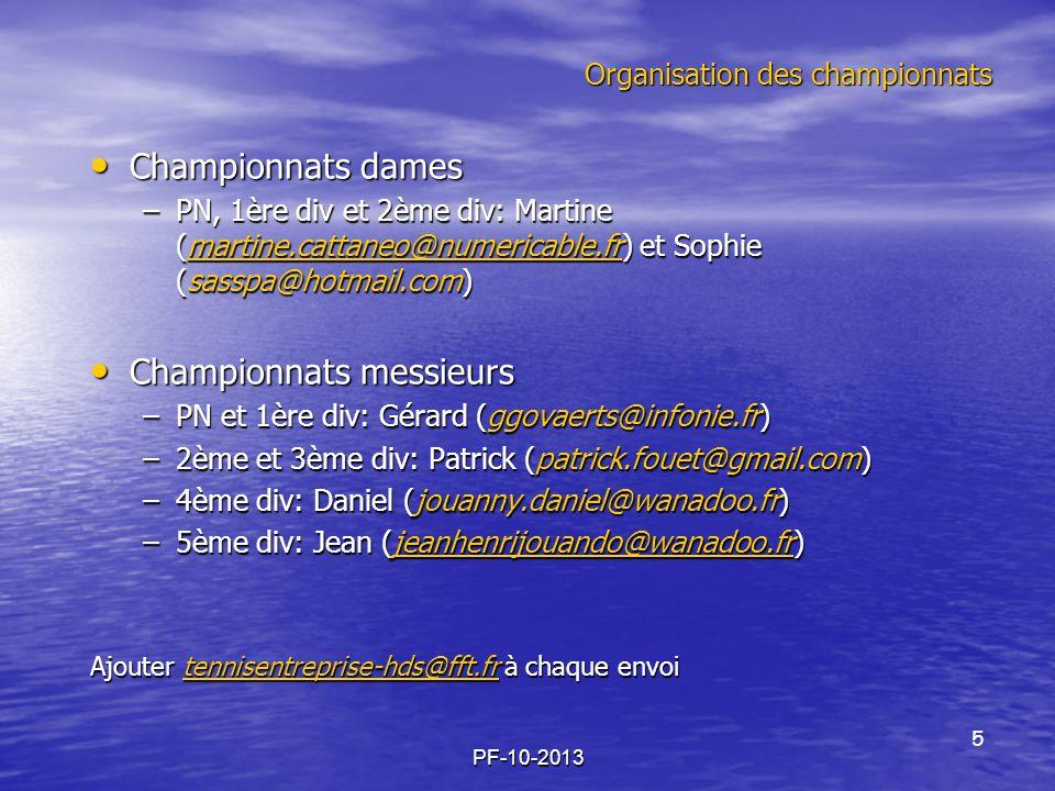 Organisation des championnats