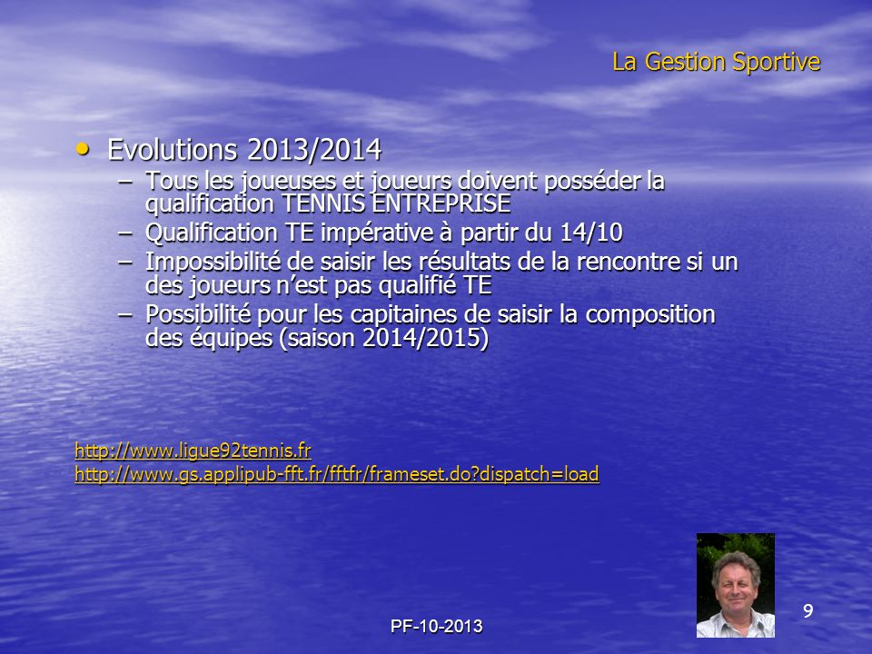 Evolutions 2013/2014 La Gestion Sportive