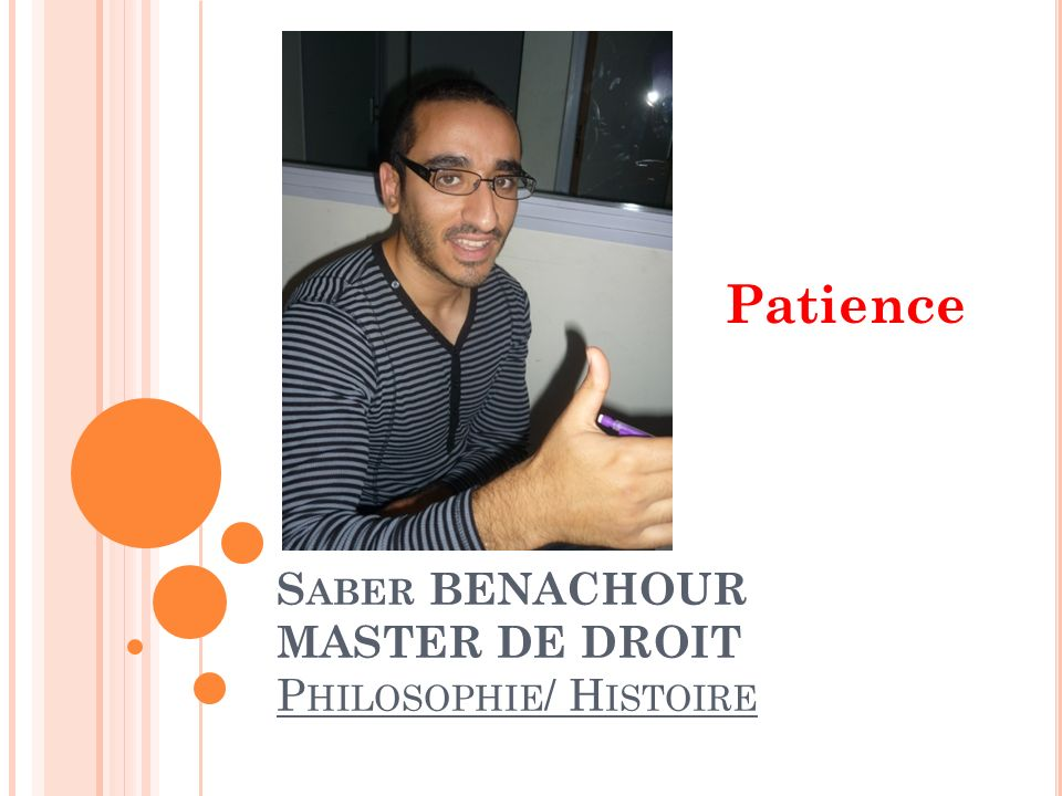 Saber BENACHOUR MASTER DE DROIT Philosophie/ Histoire
