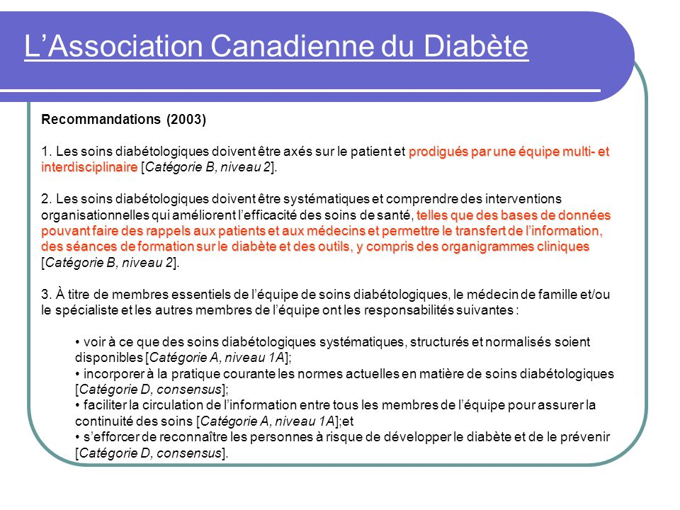 L'Association Canadienne du Diabète