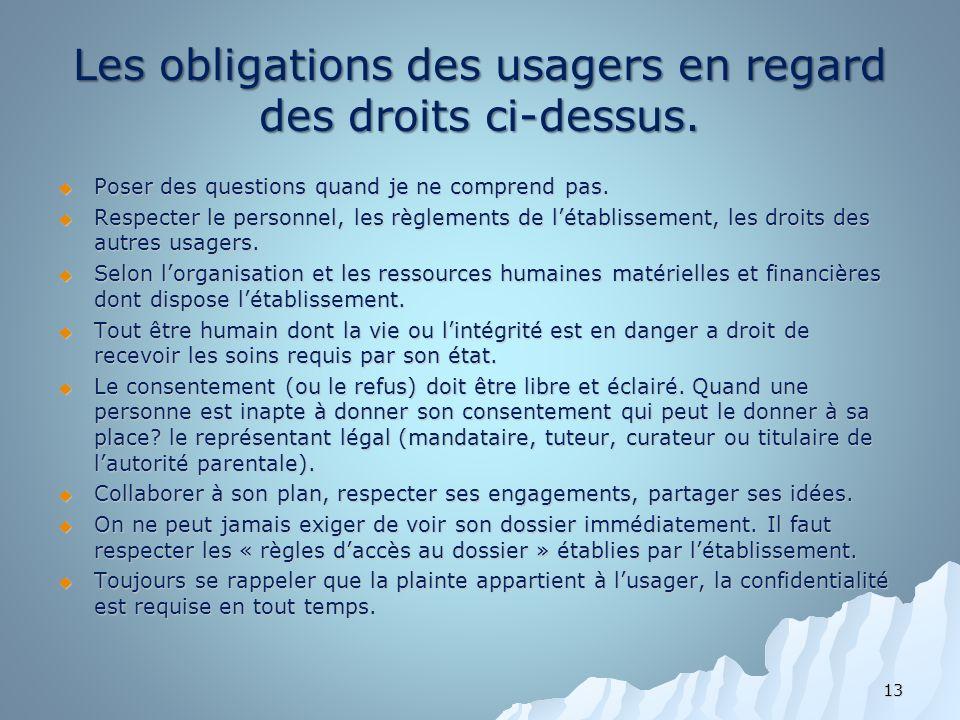 Les obligations des usagers en regard des droits ci-dessus.