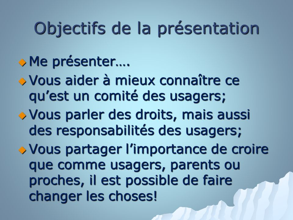 Objectifs de la présentation