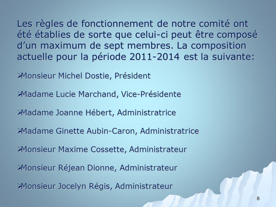 Les règles de fonctionnement de notre comité ont été établies de sorte que celui-ci peut être composé d'un maximum de sept membres. La composition actuelle pour la période 2011-2014 est la suivante: