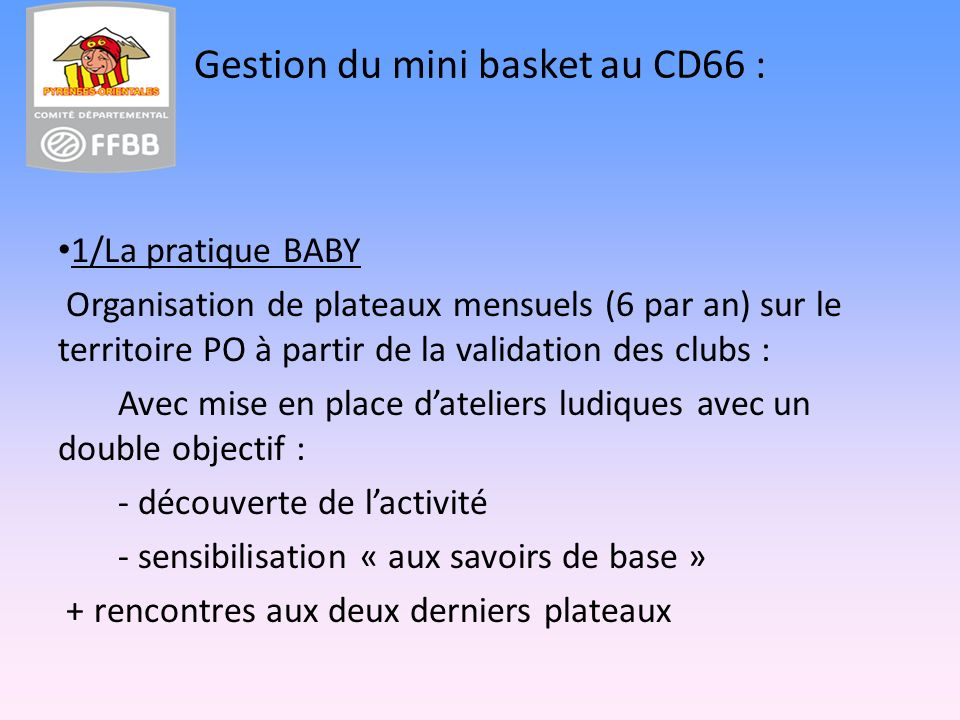 Gestion du mini basket au CD66 :