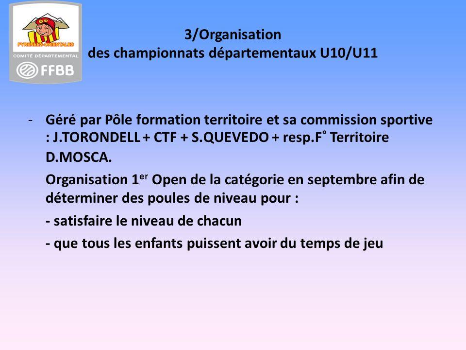 3/Organisation des championnats départementaux U10/U11