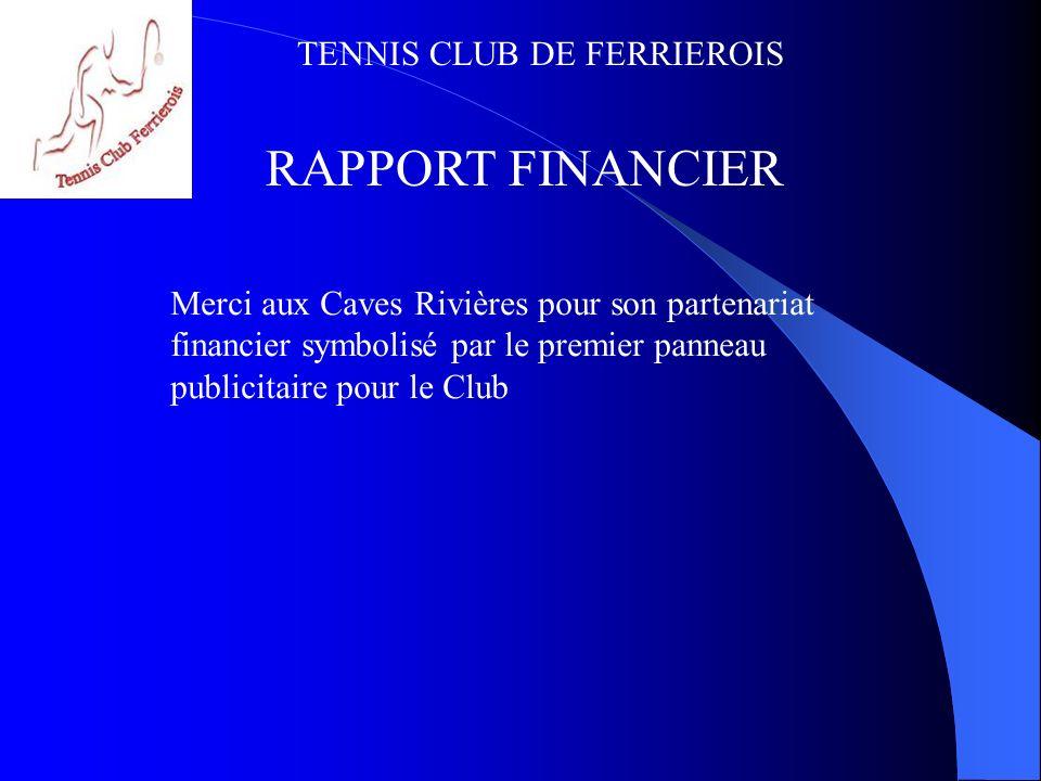 RAPPORT FINANCIER Merci aux Caves Rivières pour son partenariat financier symbolisé par le premier panneau publicitaire pour le Club.