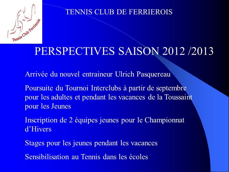 PERSPECTIVES SAISON 2012 /2013 Arrivée du nouvel entraineur Ulrich Pasquereau.