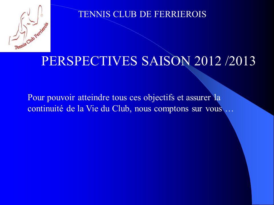 PERSPECTIVES SAISON 2012 /2013 Pour pouvoir atteindre tous ces objectifs et assurer la continuité de la Vie du Club, nous comptons sur vous …