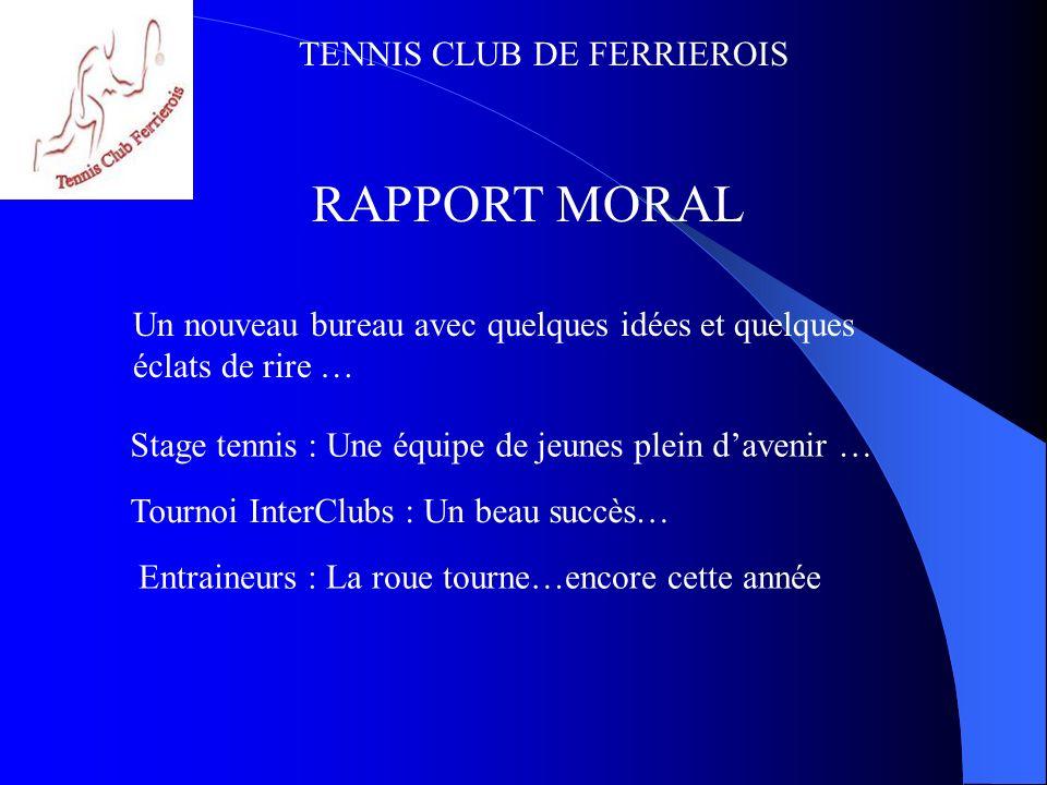RAPPORT MORAL Un nouveau bureau avec quelques idées et quelques éclats de rire … Stage tennis : Une équipe de jeunes plein d'avenir …