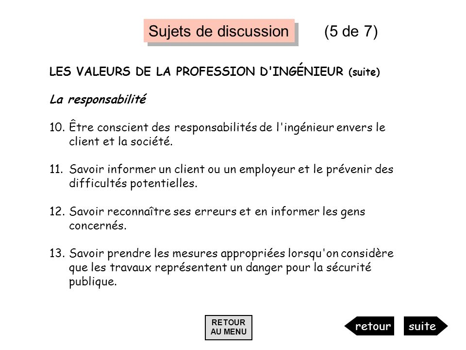 Sujets de discussion (5 de 7)