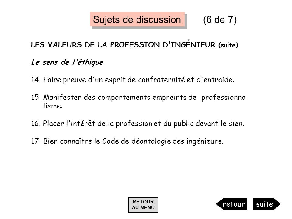 Sujets de discussion (6 de 7)