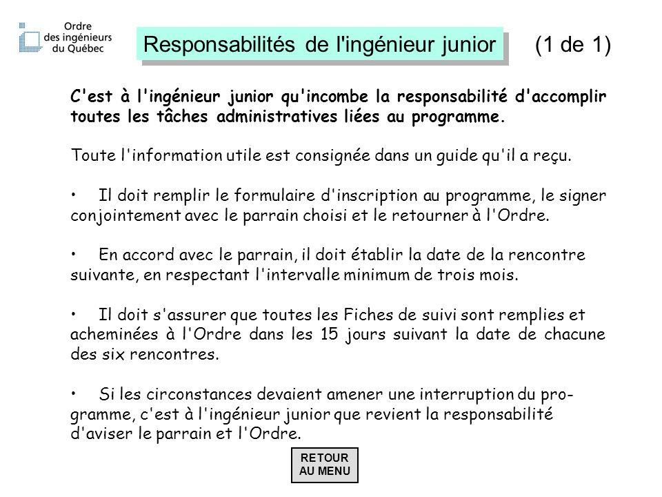 Responsabilités de l ingénieur junior (1 de 1)