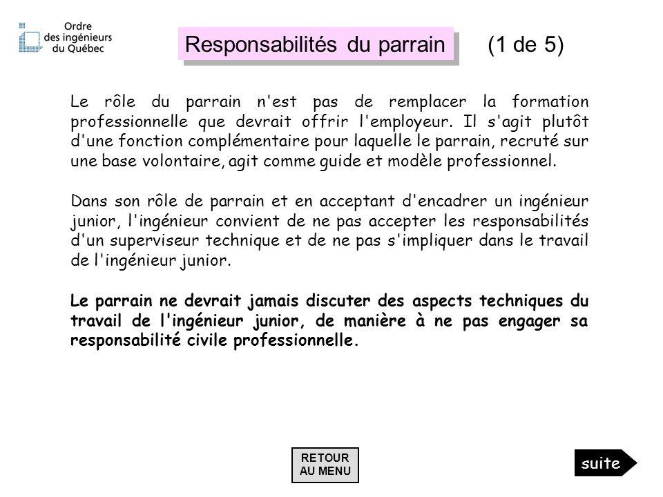 Responsabilités du parrain (1 de 5)