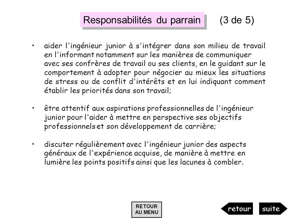 Responsabilités du parrain (3 de 5)