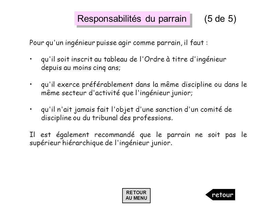 Responsabilités du parrain (5 de 5)