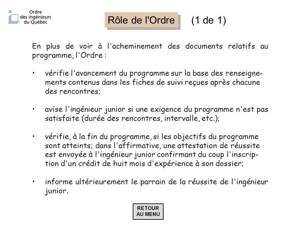 Rôle de l Ordre (1 de 1) En plus de voir à l acheminement des documents relatifs au programme, l Ordre :