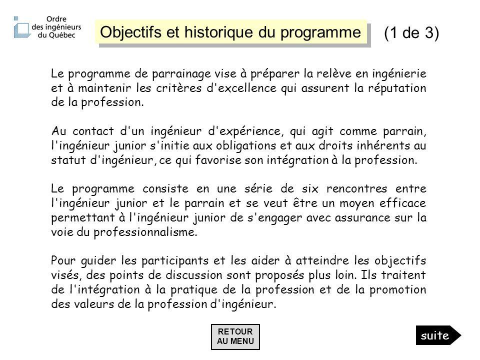 Objectifs et historique du programme (1 de 3)