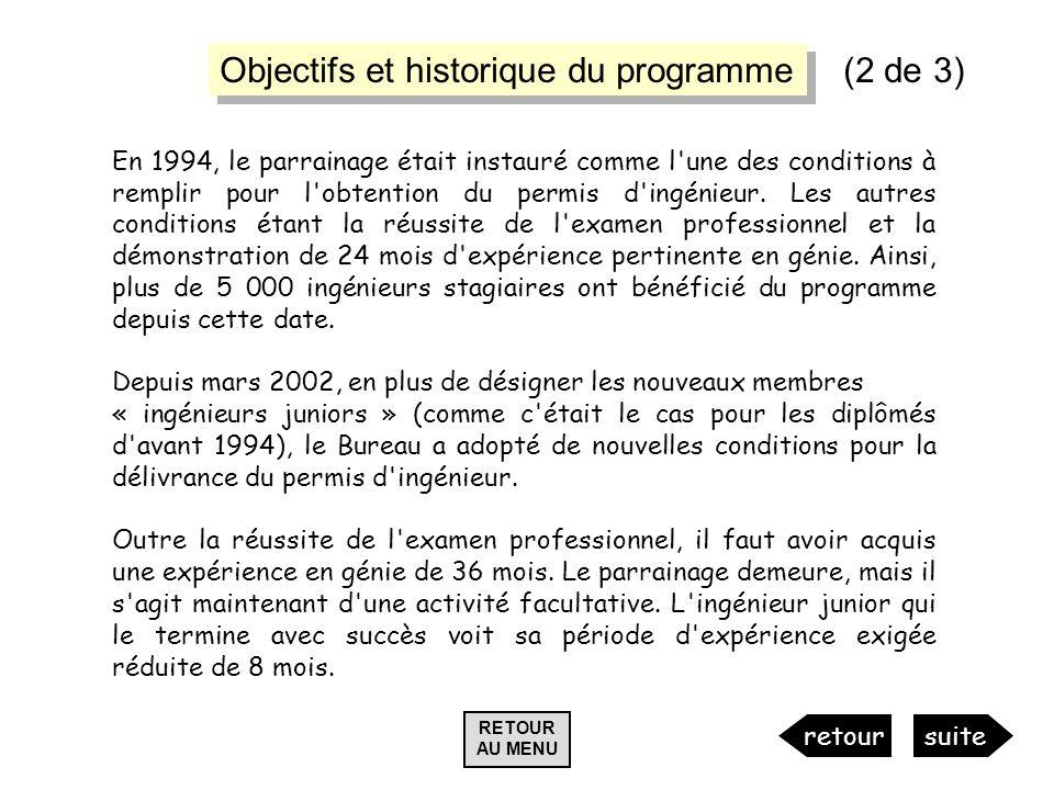 Objectifs et historique du programme (2 de 3)