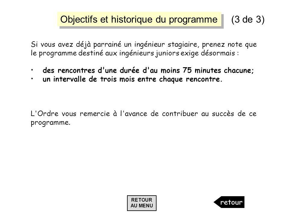Objectifs et historique du programme (3 de 3)