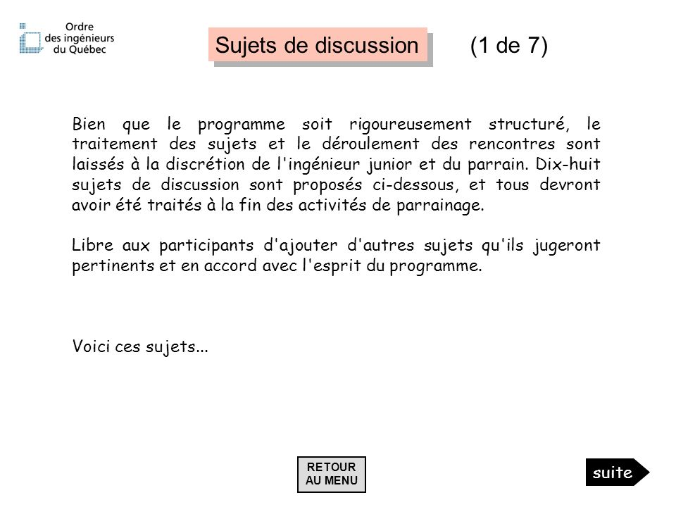 Sujets de discussion (1 de 7)