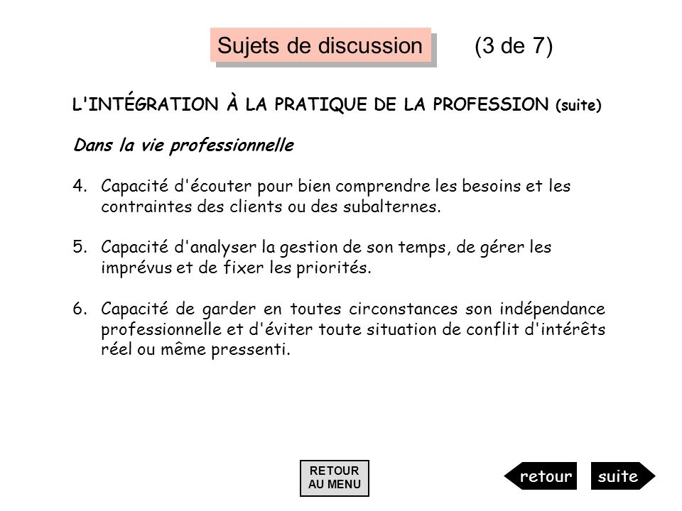 Sujets de discussion (3 de 7)