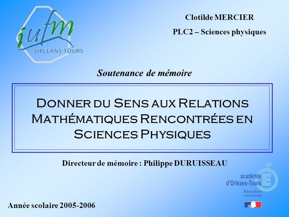 PLC2 – Sciences physiques Directeur de mémoire : Philippe DURUISSEAU