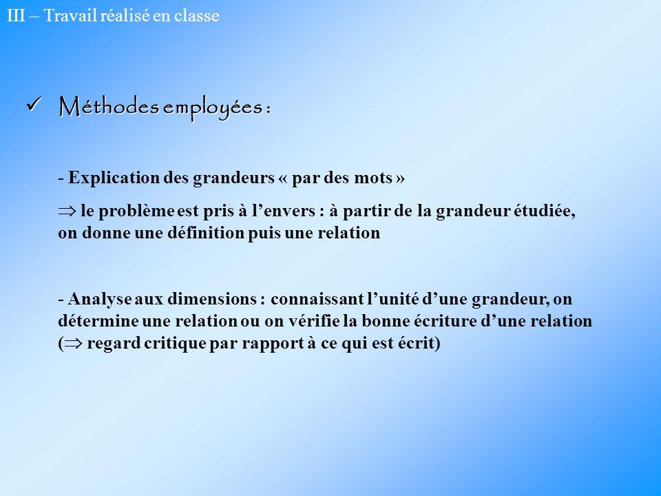 Méthodes employées : III – Travail réalisé en classe