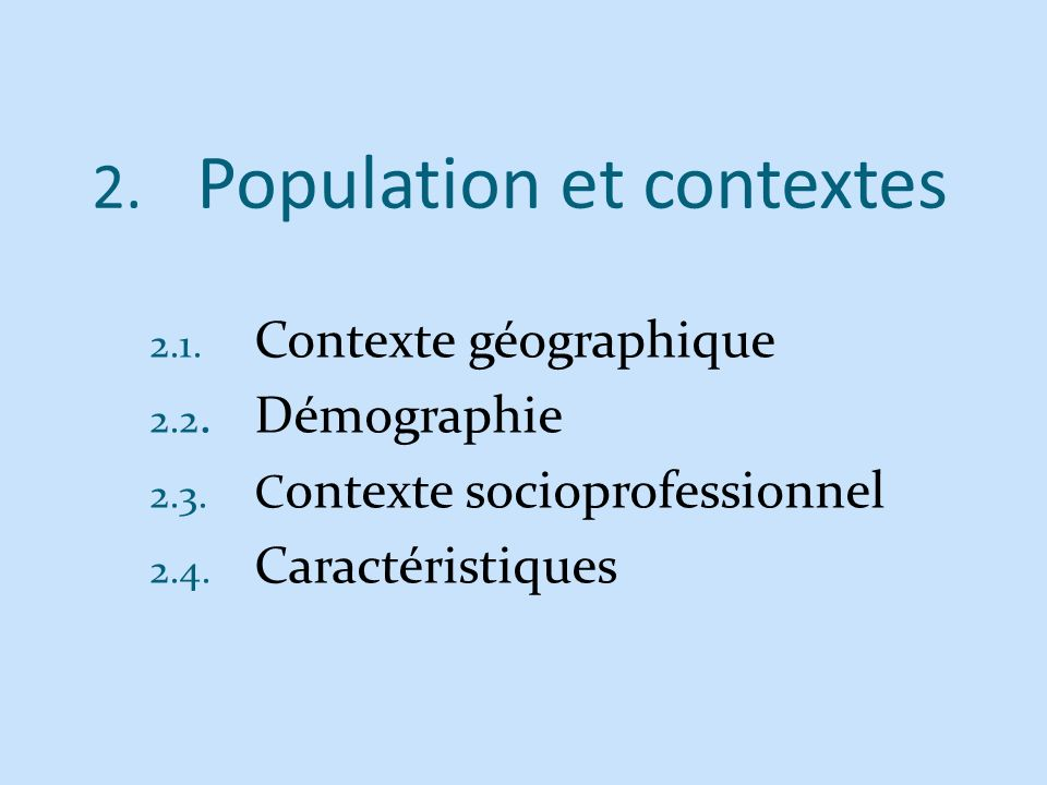 Population et contextes