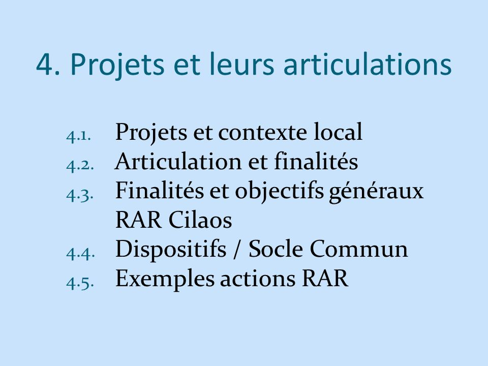 4. Projets et leurs articulations