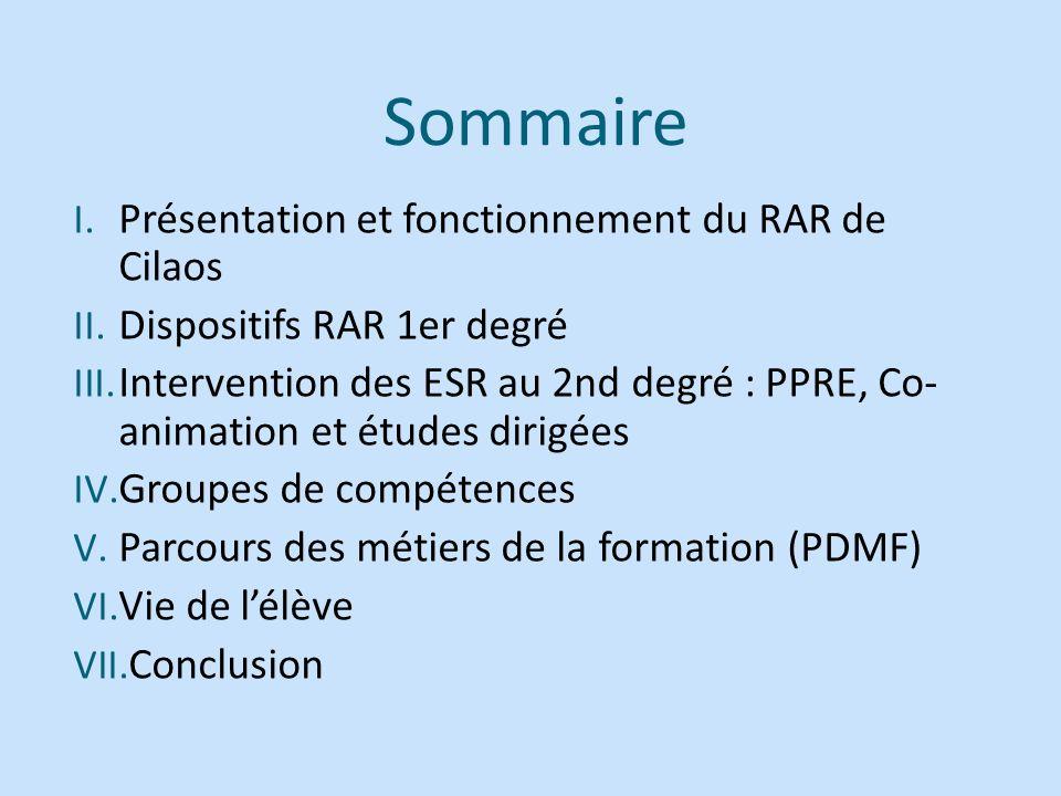 Sommaire Présentation et fonctionnement du RAR de Cilaos